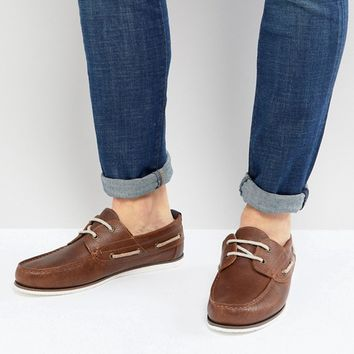River Island Leather Boat Shoe In Tan at asos.com