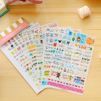 6Sheets/Pack Korean New Painting Life DIY Cartoon Scrapbook Paper Diary Stickers Decoration Stationery Label Sticker E0149