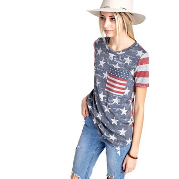 American Flag Short Sleeve Top, Heather Gray