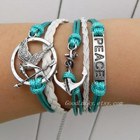 Unisex fashion silver anchor,peace and Hunger Games Mocking Bird leather bracelet--light green wax rope and white leather braided bracelet