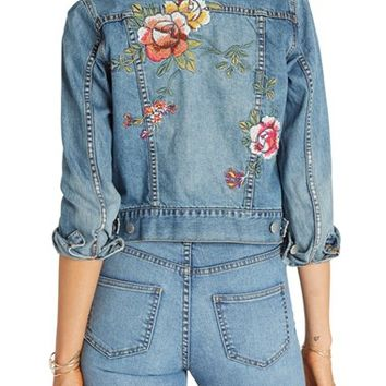 Billabong 'Floral Crush' Embellished Denim Jacket | Nordstrom