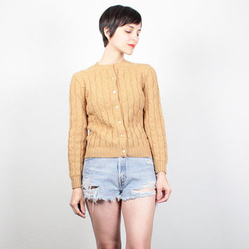 Vintage 70s Sweater Cable Knit Sweater 1970s Cardigan Sweater Button Down Jumper Fisherman Sweater Textured Knit Tan Yellow Gold XS S Small