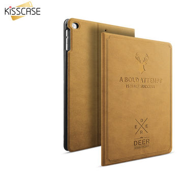 "KISSCASE For ipad Pro 9.7"" Retro Flip Leather Smart Case Automatic Sleep Awake Answer Cover 3D Deer Kickstand Shockproof Fundas"