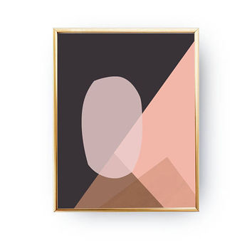 Simple Art, Geometric Textures, Mid Century Decor, Modern Design, Pink Brown Print, Textured Pastel Decor, Minimal Poster, Abstract Shapes