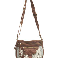 Crochet & Chambray Crossbody Bag | Wet Seal