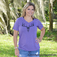 Purple womens deer hunting deer skull clothing