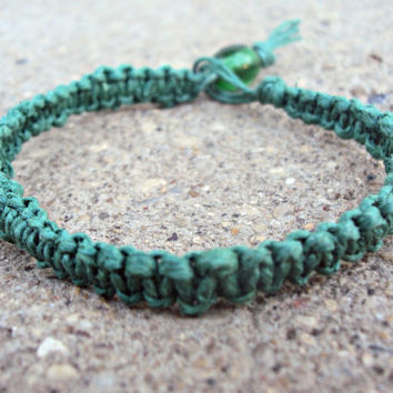 Green Hemp Bracelet Macrame For Men For Women For Teens