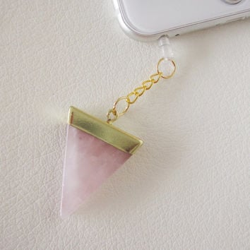 Rose quartz pink triangle stone quartz crystal dust plug charm iphone 6 6S 6 Plus 5S Galaxy S6 S5 cellphone phone druzy reiki charms LOVE