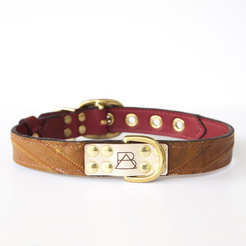 Ruby Red Dog Collar with Brown Leather + Multicolor Stitching