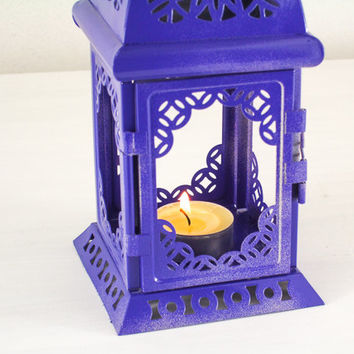 Purple Ombre Scheherazade Lantern/ Moroccan Decor/ Filigree Golden Metal Candle Holder/ Wedding Decor/ Christmas PROMO