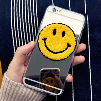 Fashion Cute Plating Mirror & Clear Smile blink Funny phone case For iphone 5 5s 6 6s 6 6S Plus Funda Phone Accessories Shell Capa1521