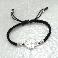 Macrame Bracelet with round antique silver flower charm, black, adjustable