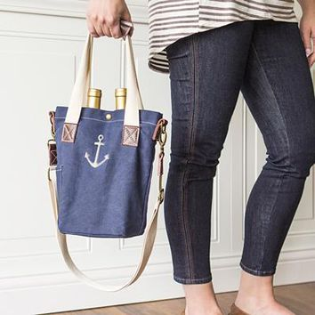 Navy Waxed Canvas Anchor Wine Tote