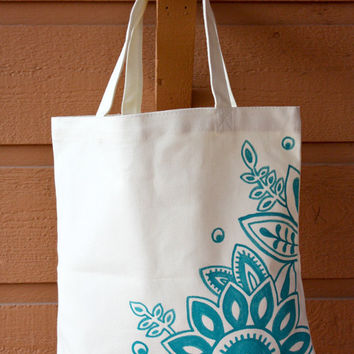 Cream and Aqua Tote Bag Book Bag Beach Bag