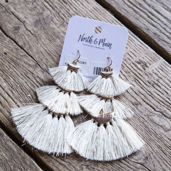 Andes Fringe Earrings, Ivory