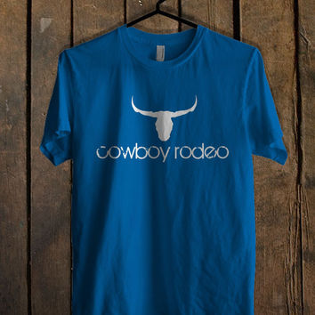 Cowboy Rodeo Logo Blue For Mens T Shirt and Womens T Shirt *76*