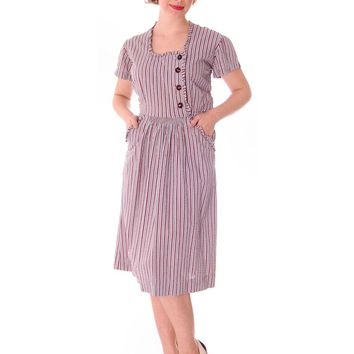 Early 1940s VTG House Dress Blue Red Striped Seersucker 37-25-38 Junior Center