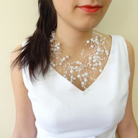 Wedding Pearl Necklace, Bridal Necklace,  Wedding Jewelry,  Bridesmaid Gifts, double strand  necklace