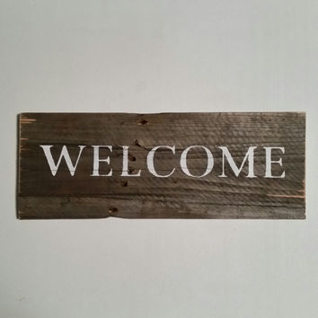 Welcome Sign, Small Welcome Sign, Wooden Welcome Sign, Reclaimed Wood Sign, Rustic Welcome Sign, Recycled Pallet Sign, Salvaged Wood Sign