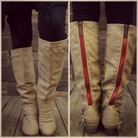 Montana Skye Beige Red Zipper Riding Boots