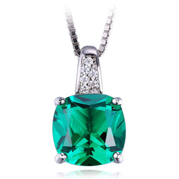 Silver Cushion Cut  3.4ct Lab Created Green Emerald Solitaire Pendant Necklace