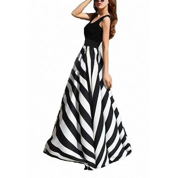 Women's Elegant Black Pin Stripe Chiffon Floor Length Summer Maxi Skirt