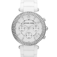 Michael Kors White Acetate Parker Three-Hand Glitz Watch - Michael Kors