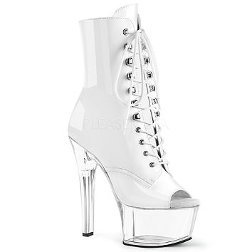 "Aspire 1021 White Patent Lace Up  6"" High Heel Ankle Boots - Pre-Order"