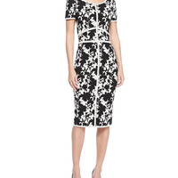 Women's Short-Sleeve Seamed Floral Sheath Dress - ZAC Zac Posen - Black/White