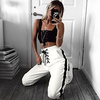 Women Casual Fashion Side Stripe Bandage Sweatpants Leisure Pants Trousers