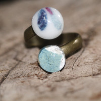 Double glass ring baby blue and graphic