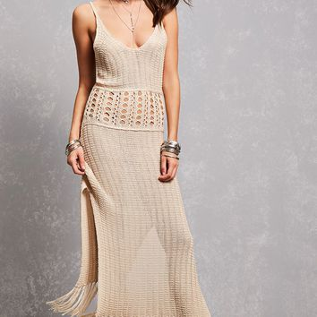Crochet & Fringe Maxi Dress
