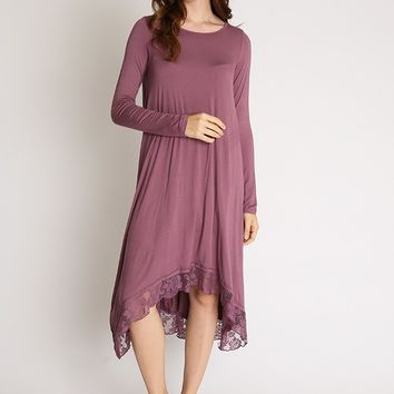 Poetic Mind Lace Hem Midi Dress | Ruche
