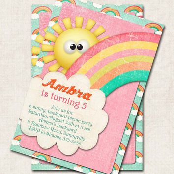 Rainbow Birthday Party Invitation, yellow pink green orange, Digital File you-print