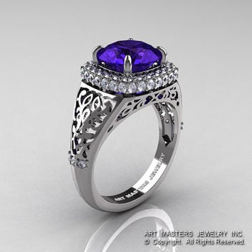 High Fashion 14K White Gold 3.0 Ct Tanzanite Diamond Designer Wedding Ring R407-14KWGDTA