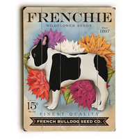 French Bulldog Seed Packet by Artist Stephen Fowler Wood Sign