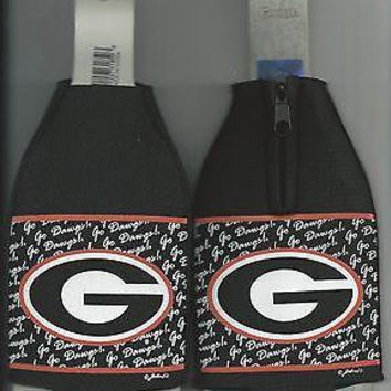 Georgia Bulldogs Oval G Black Koozie Bottle Zipper Drink Koozie