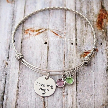 Alex Ani Bracelet Style - Love My Boys - Mother Bracelet - Personalized - Grandmother - Adjustable - Birthstone - Mimi - Gigi - Grandma