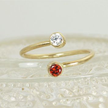 Gold Filled Dual Stone Ring