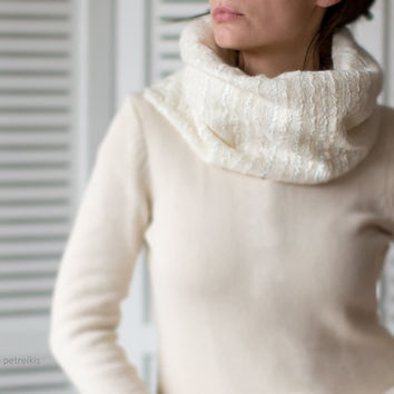 Minimalist Felted Infinity Circle Scarf / Loop Shawl / Wool Felt Unisex Cowl - perfect gift for her for him - natural undyed merino wool