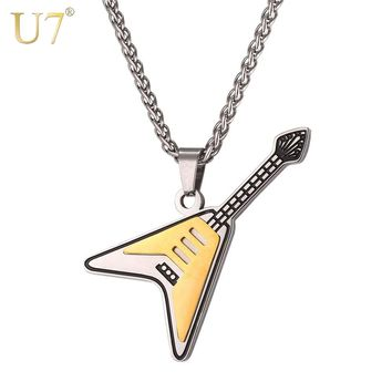 U7 Guitar Necklaces Pendants Two-tone Gold Color Stainless Steel Gift For Men/Women Hiphop Rock Musical Charm Jewelry P1082