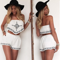 Sexy Women Strapless Embroidery Irregular Crop Tops Elastic Waist Pocket Shorts Two Piece Set SV022566