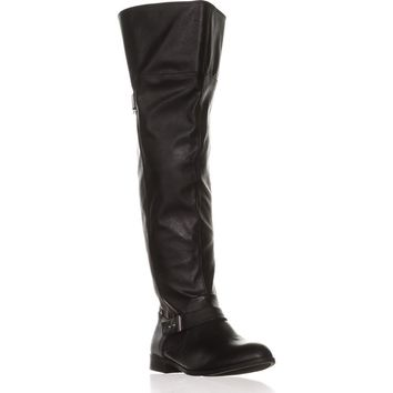 B35 Daphne Wide Calf Over-the-Knee Boots, Black, 8.5 US