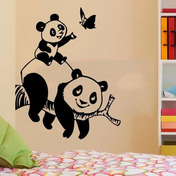 Panda Bear Wall Decals Animals Vinyl Sticker Living Room Decor Baby Kids Free shipping