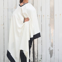White Asymmetric Top / Loose Long Tunic / Black and White Blouse / Oversize Maxi Dress / Long Sleeve Plus Size Dress by METAMORPHOZA