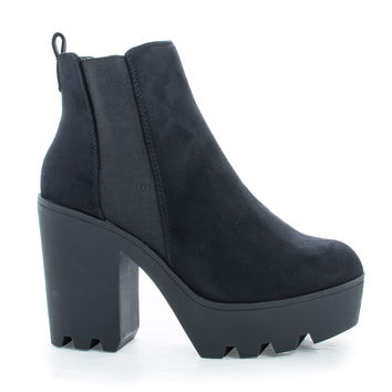 Geena Black F-Suede by Soda, Black Suede Round Toe Pull On Lug Sole Platform Chunky Heel Booties