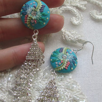 Earrings with Crystals Chains by Lena Handmade Jewelry Polymer clay Embroidery / Applique Earrings