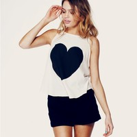 BIG HEART - CASSIDY TANK at Wildfox Couture in  - CLEAN BLACK, PRL, BRBLA, SUNSH