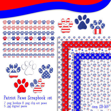 patriot paws digital clip art and scrapbook set, red white & blue paws, fourth of july, borders, digital paper, SB169