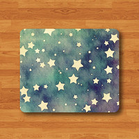 WATERCOLOR Little Star Mouse Pad Vintage Drawing Blue Shining Cute MousePad Rectangle Matt Personalized Gift Desk Deco New Year Gift Indigo